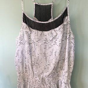 BCBGeneration dress, white racerback black netting